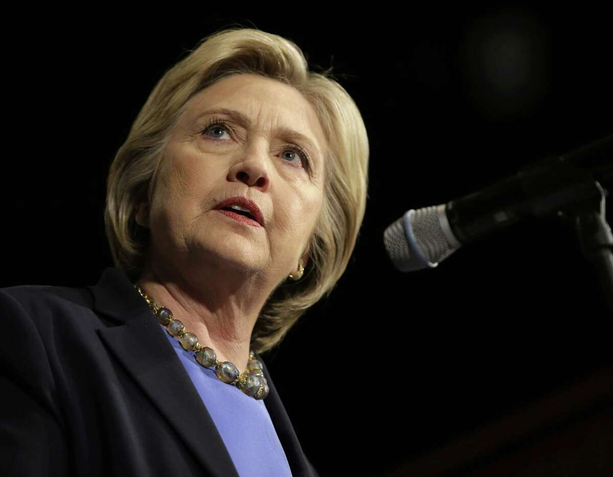 Democratic presidential candidate Hillary Clinton speaks at a rally in Purchase, N.Y.,Thursday, March 31, 2016. (AP Photo/Seth Wenig) ORG XMIT: NYSW111