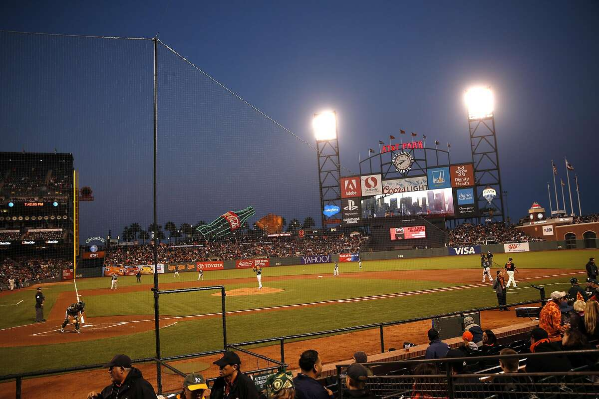 New netting at AT&T Park as San Francisco Giants play the Oakland A's in the Bay Bridge Series at AT&T Park in San Francisco, Calif., on Thursday, March 31, 2016.