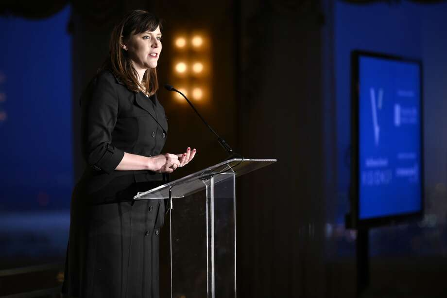 Audrey Cooper, Editor in Chief of The Chronicle, speaking at the award ceremony. Photo: Michael Short