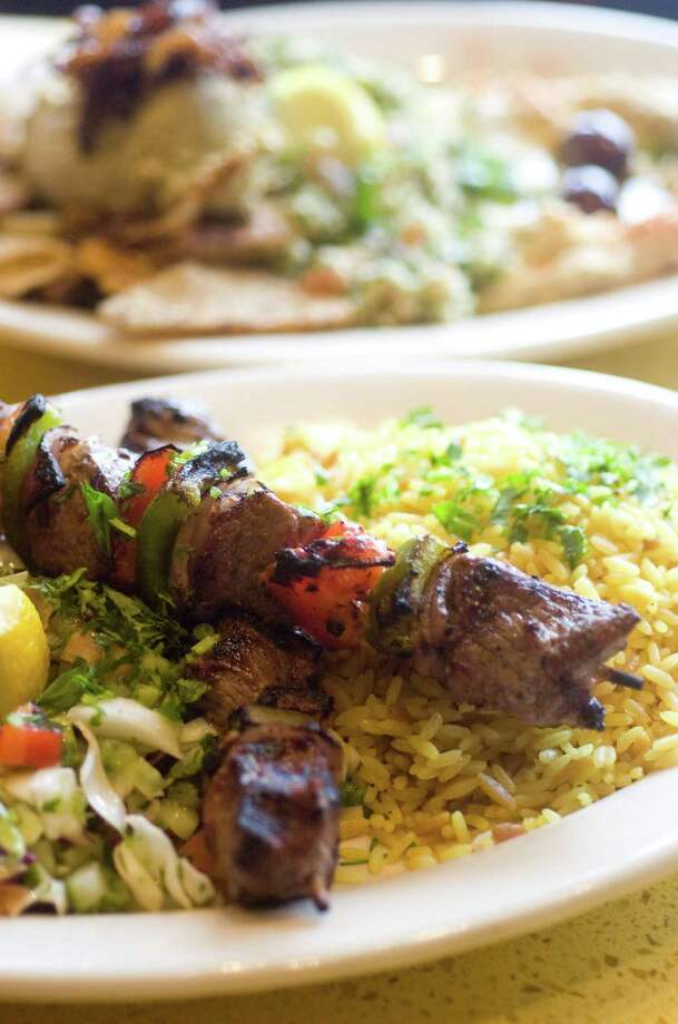 The lamb kabob platter at Tabouli Grill in Stamford, Conn. Photo: Chris Preovolos / ST / Stamford Advocate