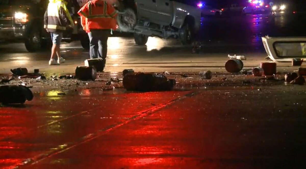 A man died early Friday morning man in a traffic crash when he slammed into the back of a pickup on Texas 249 in northwest Harris County, forcing officials to shut down the road in both directions for hours.