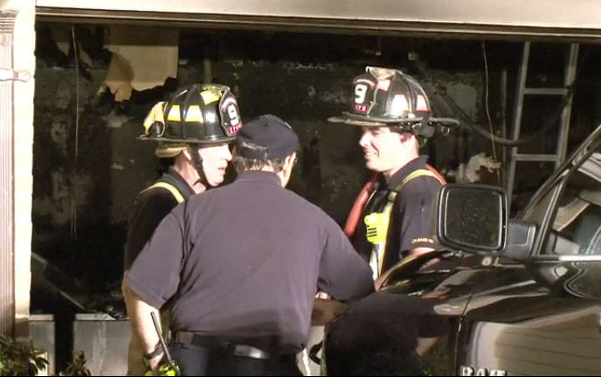 Fire damaaged a residential garage overnight in northwest Harris County, on Sonnet Glen near Silver Sky, April 1, 2016. The Cy-Fair Volunteer Fire Department responded.
