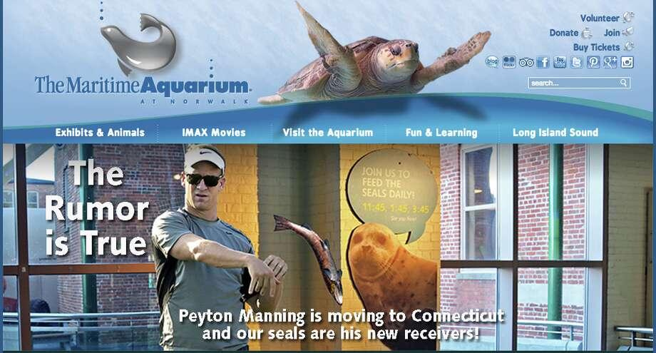 Norwalk's Maritime Aquarium had a little April Fools' Day fun at Peyton Manning's expense.