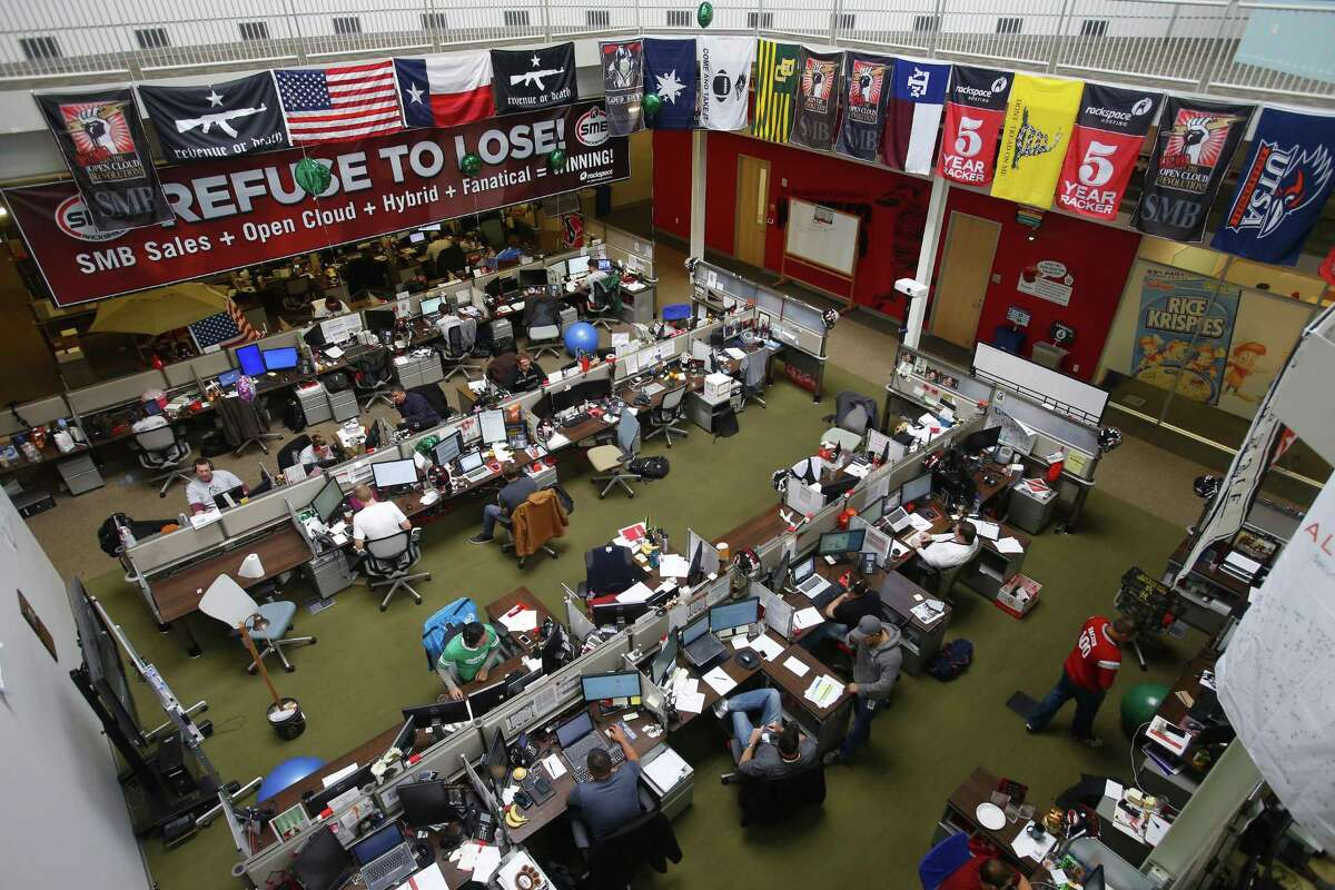 An office area inside Rackspace's headquarters. The company participates in CPS Energy's demand response program, and reduces power usage during peak times of demand.