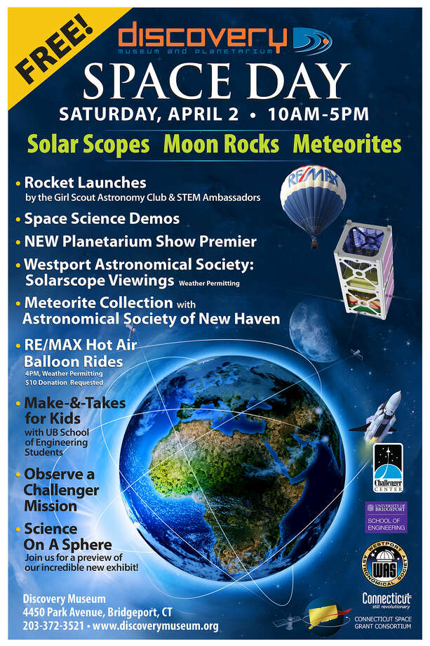 The poster for the space event on Saturday, April 2, 2016, at the Discovery Museum in Bridgeport, Connecticut. Photo: Contributed Photo