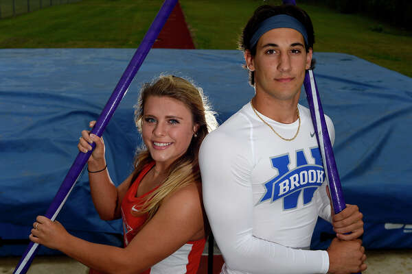 Lumberton's Kaitlyn Black and West Brook's Will Gavrelos, both seniors, will be competing in the pole vault at the Clyde Littlefield Texas Relays. Photo taken Wednesday 3/30/16 Ryan Pelham/The Enterprise