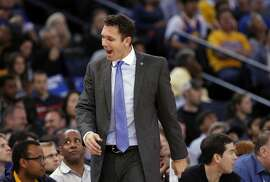 Warriors' interim coach Luke Walton not to happy with a foul call against his team in the second half, as the Golden Sate Warriors went on to beat the Denver Nuggets 119-104 at the Oracle Arena in Oakland, Calif. on Fri. November 6, 2015.