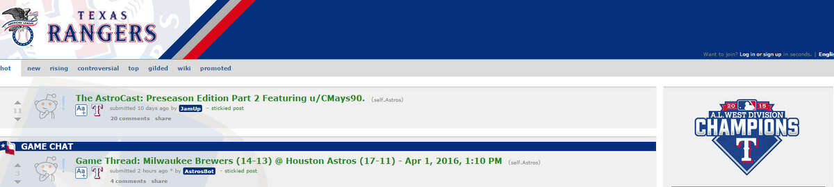 A Texas Rangers fan (or fans) hacked the Astros' subreddit page Friday for April Fools Day.