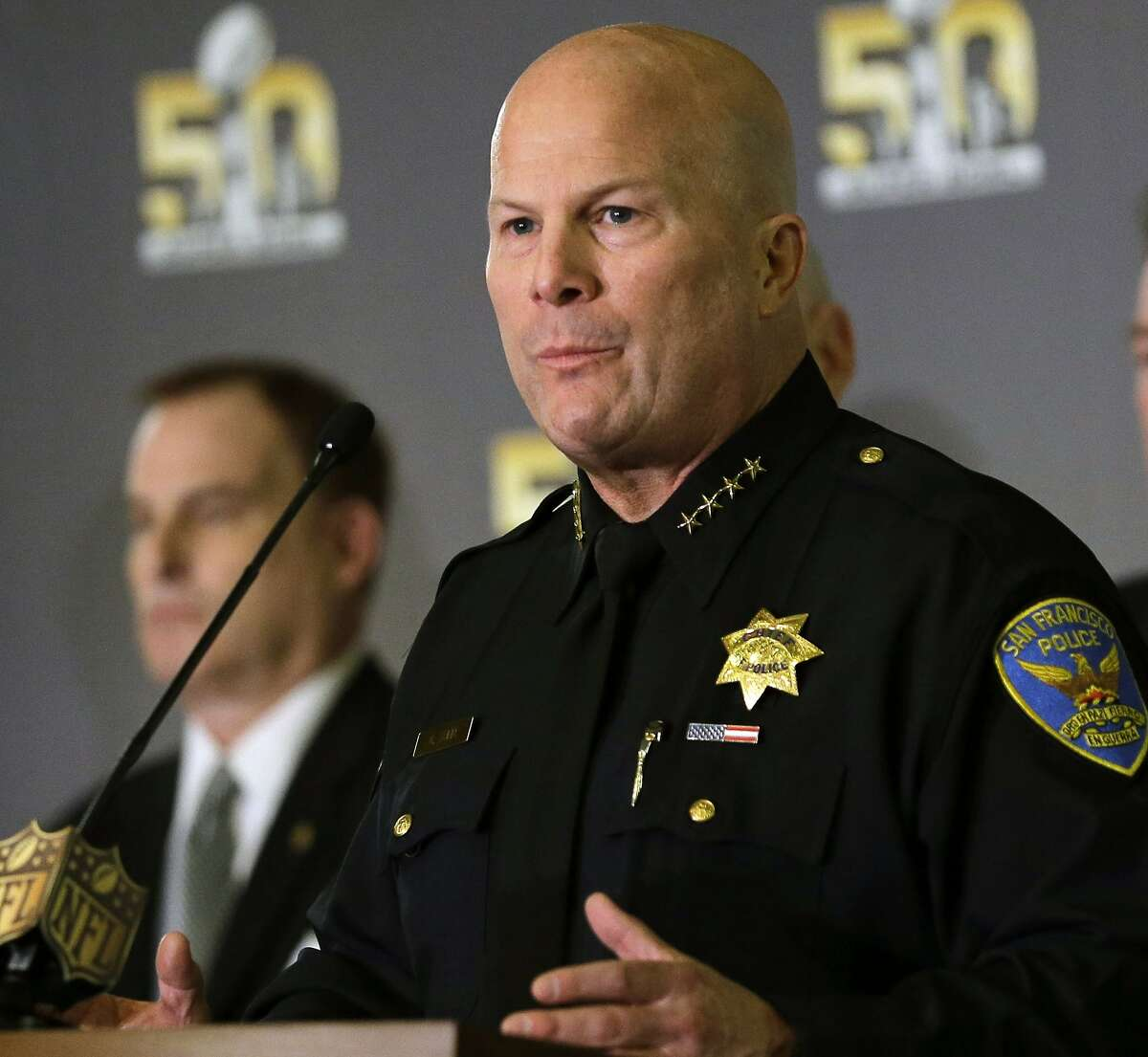 FILE - This Feb. 3, 2016 file photo San Francisco Police Chief Greg Suhr speaks during a news conference in San Francisco. Additional San Francisco police officers have been accused of exchanging racist and homophobic text messages, following a scandal that implicated 14 officers in a department now under federal review. (AP Photo/David J. Phillip,File)