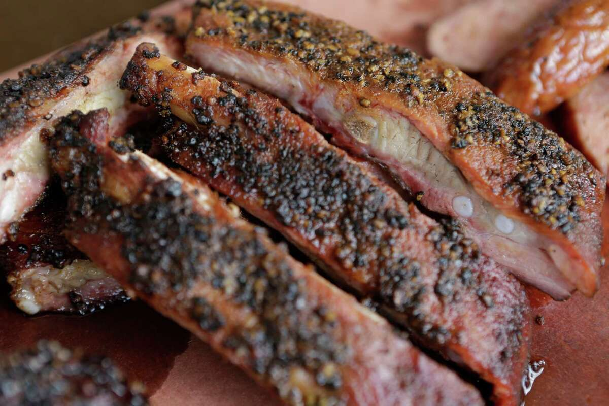 Pork spare ribs from Midtown BBQ, set to open April 20 at 2708 Bagby.