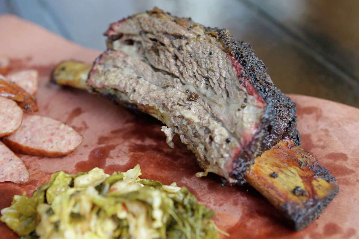 A beef rib from Midtown BBQ, set to open April 20 at 2708 Bagby.