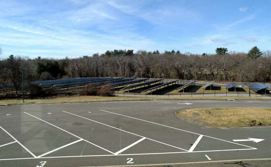 Easton's Clean Energy Task Force installed a 1.25 acre solar panel farm at Samuel Staples Elementary School. The e-recycling event will be held near the solar farm, at the back of teh school, from 8 a.m. to 1 p.m. on April 9. Photo: Media / Connecticut Post