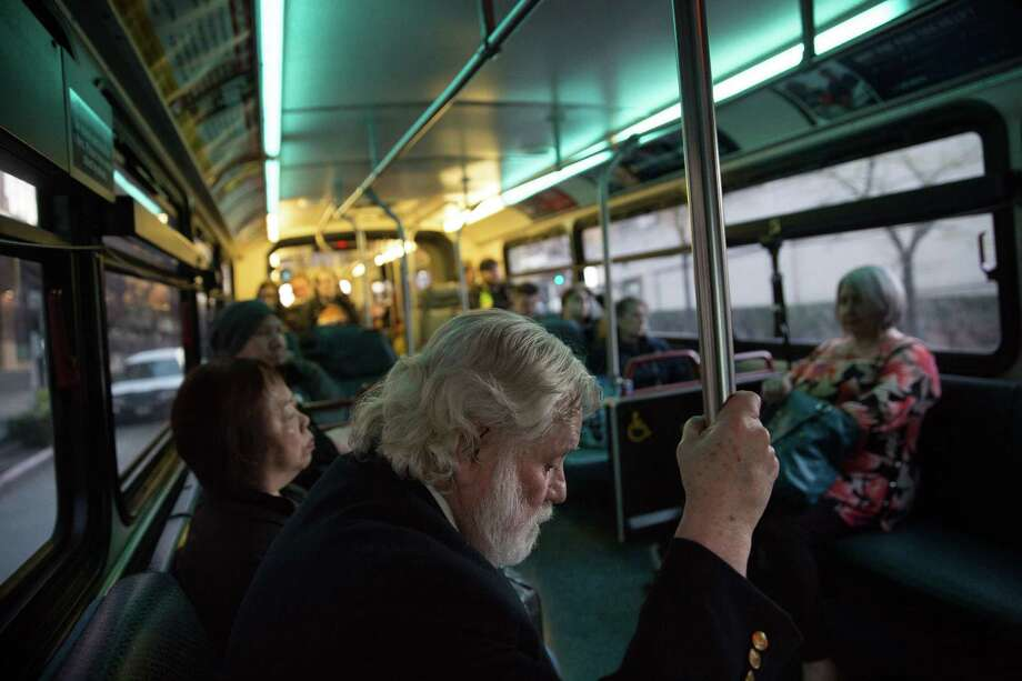 Commuting timeTransit riders in the Seattle metro region spend an average of 74 minutes on public transit on weekdays. That's slightly less than San Francisco (77 minutes) and a good 13 minutes shorter than New York City. Photo: GRANT HINDSLEY, SEATTLEPI.COM / SEATTLEPI.COM