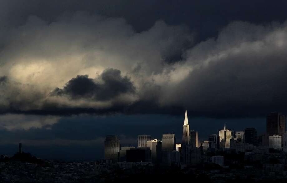 The afternoon rain showers that swept through the Bay Area today left behind a dramatic sky above the San Francisco skyline on Saturday May 28, 2011. Photo: Michael Macor, The Chronicle