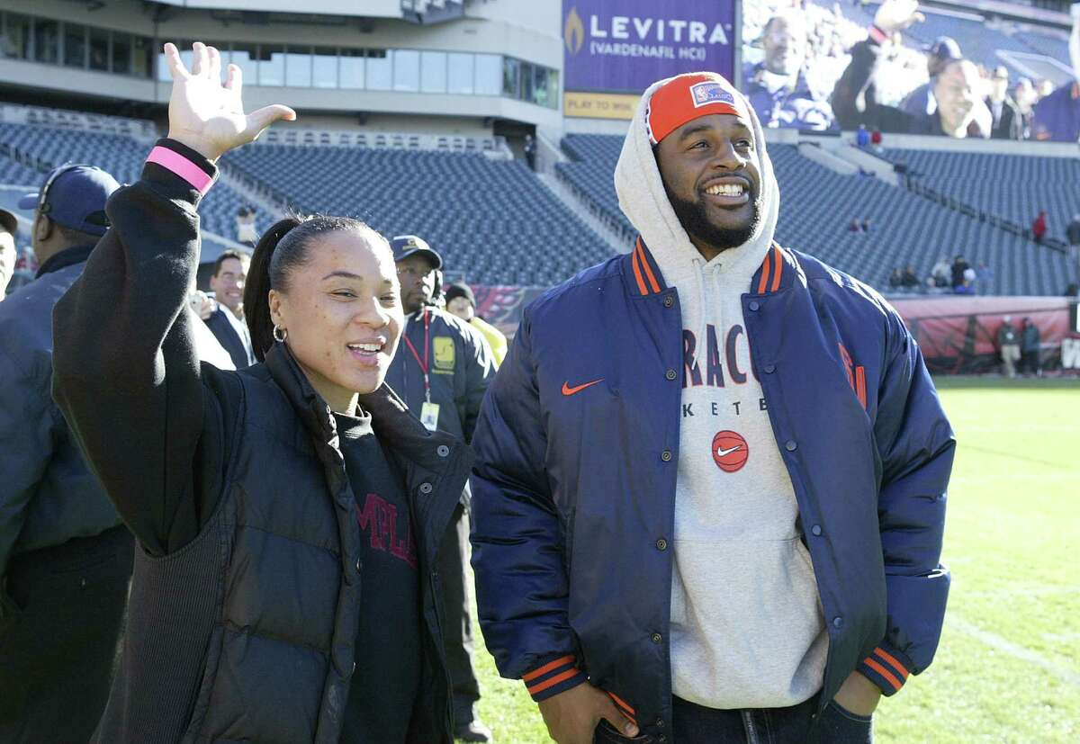 Two Famous #5s were on the sidelines, Dawn Staley and Donovan McNabb to see the Temple Owls defeat the Syracuse Orange 34 to 24 at Lincoln Financial Field in Philadelphia on 11/13/2004.