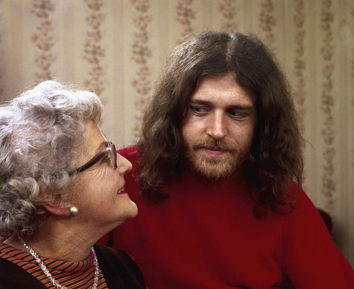 British musician Joe Cocker (born John Robert Cocker) sits with his mother Marjorie, Sheffield, England, 1970.