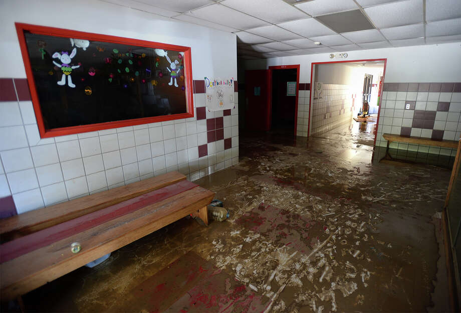 An entrance to the Deweyville Elementary School on Monday. Residents began returning to their homes on Sunday to begin removing debris and water soaked materials. Photo taken Monday, March 21, 2016 Guiseppe Barranco/The Enterprise Photo: Guiseppe Barranco, Photo Editor