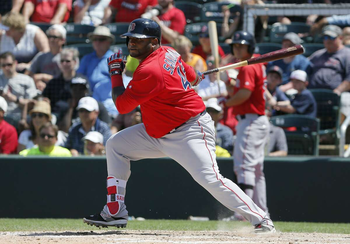 Boston Red Sox's Pablo Sandoval follows through on a ground out to third in the sixth inning of a spring training baseball game against the Minnesota Twins on Thursday, March 31, 2016, in Fort Myers, Fla.