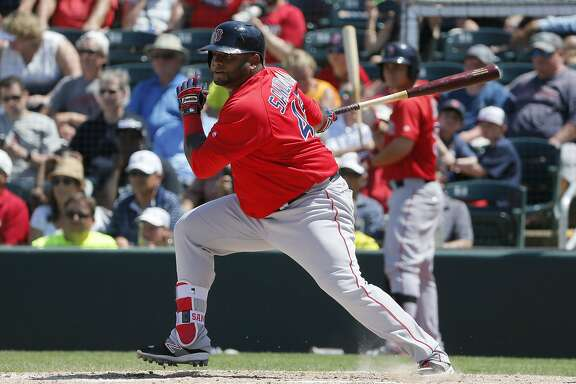 Boston Red Sox's Pablo Sandoval follows through on a ground out to third in the sixth inning of a spring training baseball game against the Minnesota Twins on Thursday, March 31, 2016, in Fort Myers, Fla. (AP Photo/Tony Gutierrez)