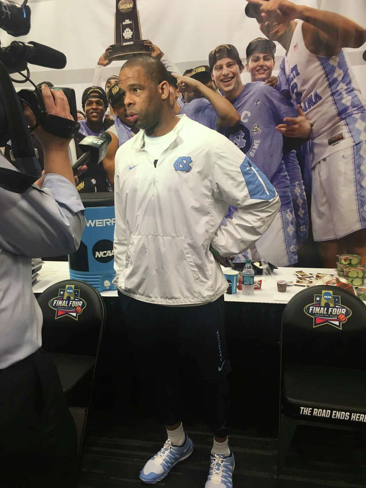 Former North Carolina star Hubert Davis talks to the media at the Final Four on Friday at NRG Stadium.