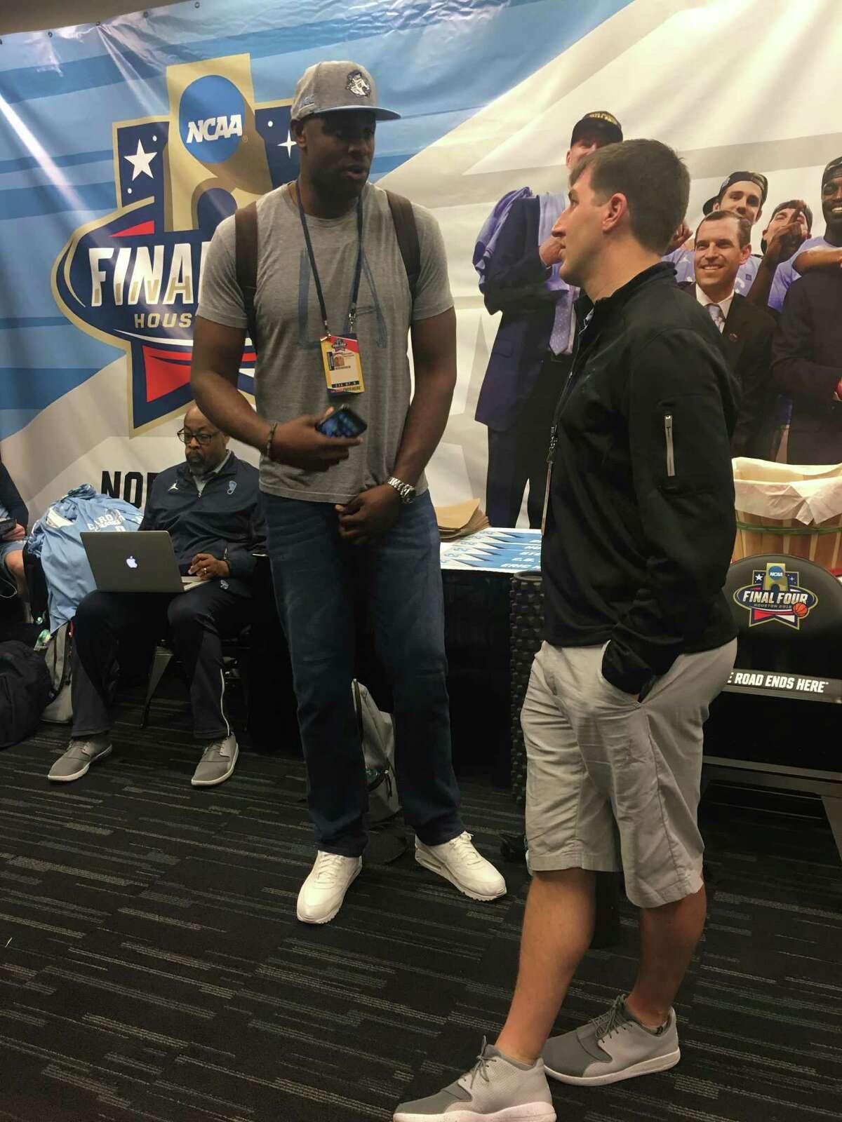 Former North Carolina star Brendan Haywood talks to the media at the Final Four on Friday at NRG Stadium.