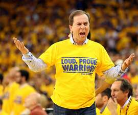 Apr 24, 2014; Oakland, CA, USA; Golden State Warriors owner Joe Lacob reacts after a call against the Los Angeles Clippers during the fourth quarter of game three of the first round of the 2014 NBA Playoffs at Oracle Arena. The Los Angeles Clippers defeated the Golden State Warriors 98-96. Mandatory Credit: Kelley L Cox-USA TODAY Sports