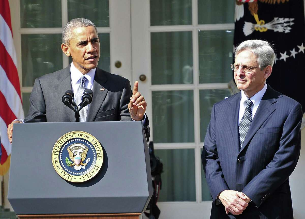 President Barack Obama introduces Judge Merrick Garland as his nominee for the Supreme Court in the Rose Garden of the White House on March 16.