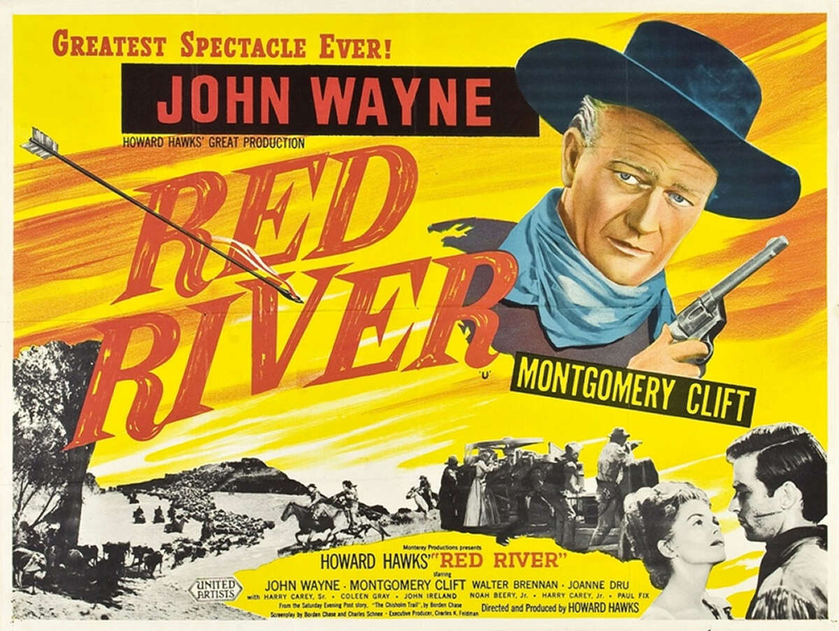 """John Wayne was a rancher on a cattle drive in Howard Hawks' classic Western """"Red River."""""""
