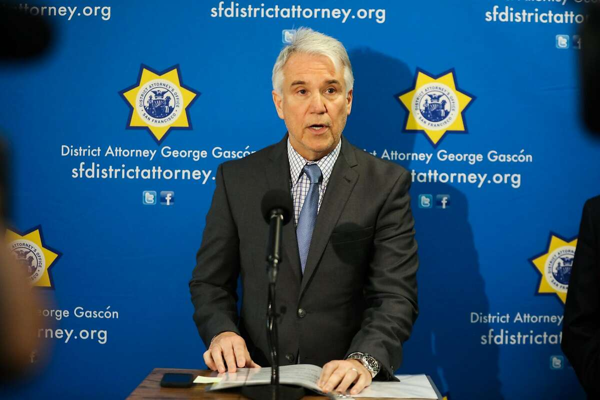 District Attorney George Gascon makes an announcement of criminal charges against deputies who allegedly forced inmates to fight each other, at the Hall of Justice, in San Francisco, California, on Tuesday, March 1, 2016.