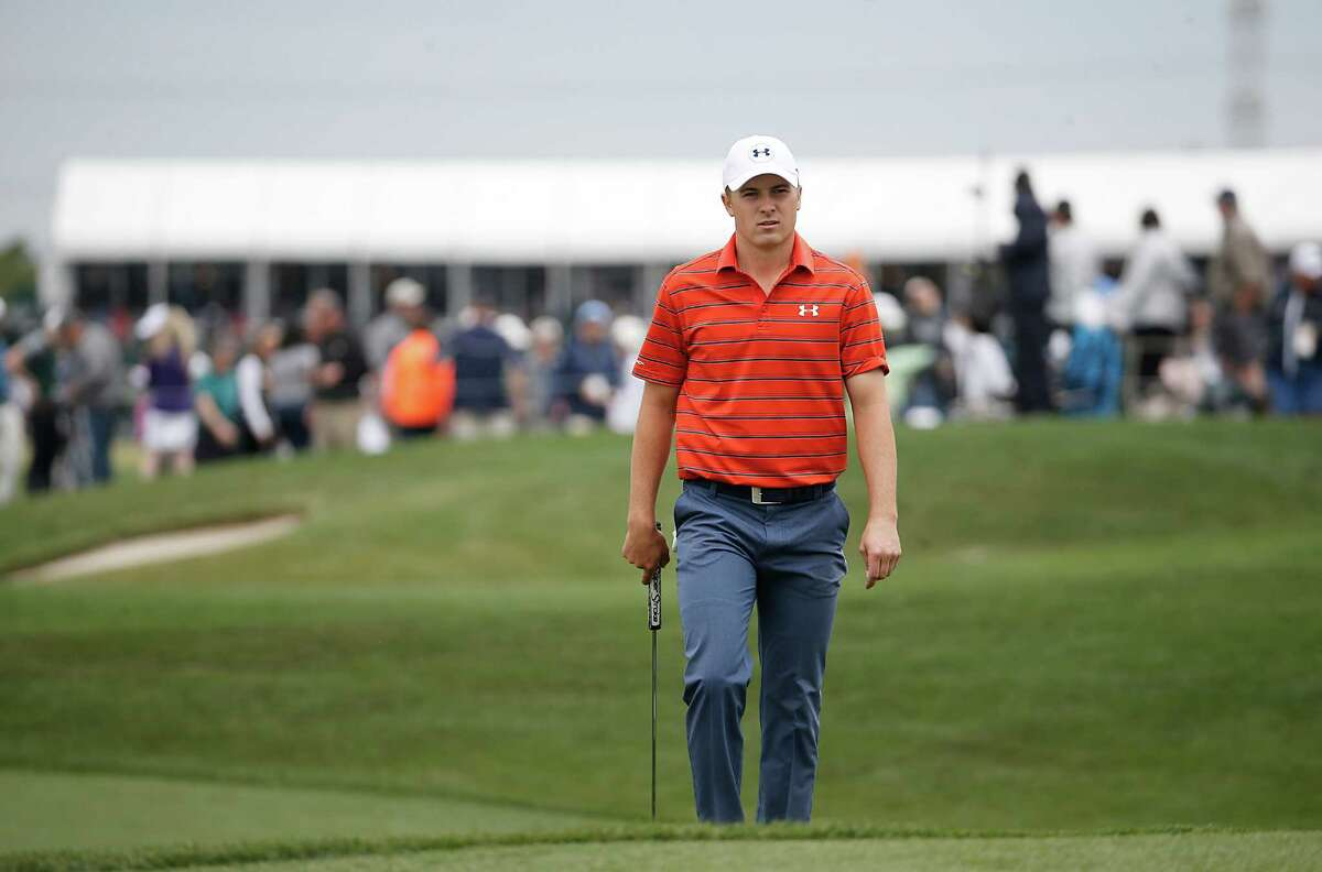 Jordan Spieth walks up to hole #1 during the second round of the Shell Houston Open golf tournament at the Golf Club of Houston on , Friday, April 1, 2016, in Humble, Texas.