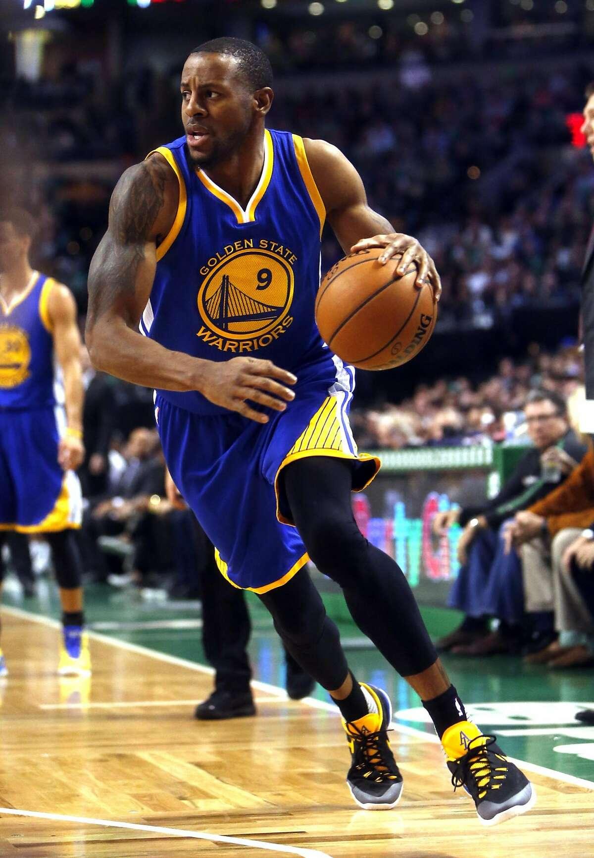 Golden State Warriors' Andre Iguodala against Boston Celtics during NBA game at TD Garden in Boston, Massachusetts on Friday, December 11, 2015.
