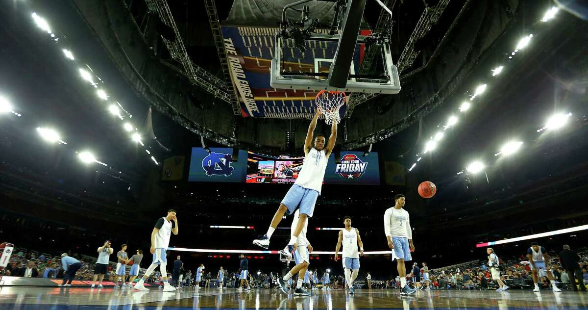 North Carolina forward Brice Johnson (11) goes up for a basket during North Carolina's NCAA Final Four practice at NRG Stadium, Friday, April 1, 2016, in Houston.