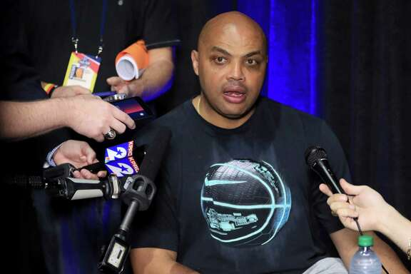HOUSTON, TEXAS - APRIL 01:  Former NBA player and TNT commentator Charles Barkley is interviewed during a practice session for the 2016 NCAA Men's Final Four at NRG Stadium on April 1, 2016 in Houston, Texas.