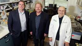 Rapamycin Holdings Inc., a privately held San Antonio company, is trying to commercialize an improved version of the drug rapamycin that is designed to be better absorbed by patients. The company licensed the technology from the University of Texas Health Science Center in San Antonio. Pictured (from left) are Rapamycin Holdings Chief Financial Officer Mark Horsey and Professors Randy Strong and Z. Dave Sharp. Strong helped design the drug so that it breaks down in a patient's intestines rather than the stomach.