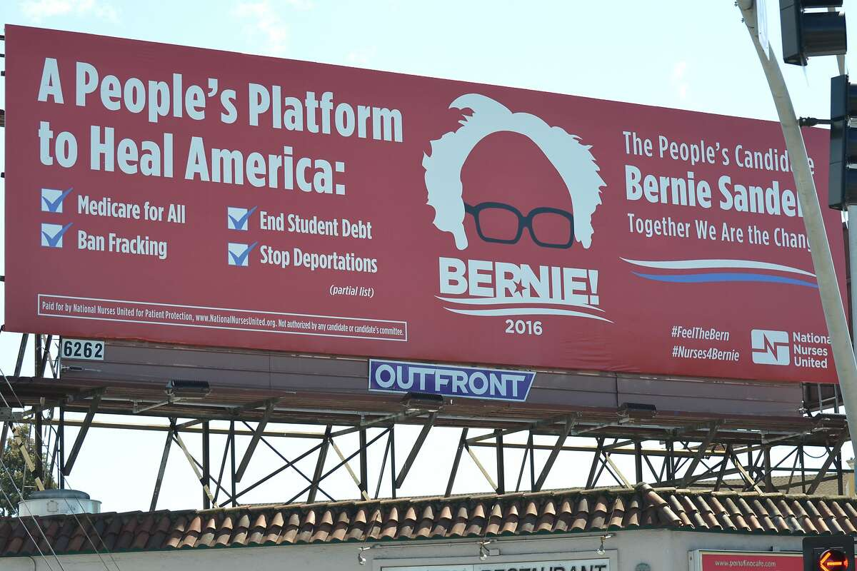 One of nine billboards for Democratic presidential candidate Bernie Sanders that have just popped up in the Bay Area courtesy the California Nurses Association. This one is in Oakland.