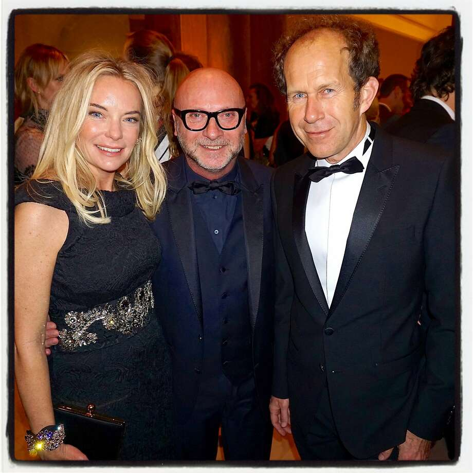 Anne-Sophie Deneve (left), designer Domenico Dolce and her husband, Apple Special Projects VP Paul Deneve. Photo: Catherine Bigelow, Special To The Chronicle