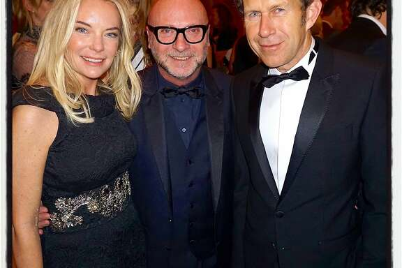 Anne-Sophie Deneve (left) with fashion designer Domenico Dolce and her husband, Apple Special Projects VP Paul Deneve, at the Legion of Honor for the Mid-Winter Gala. March 2016.