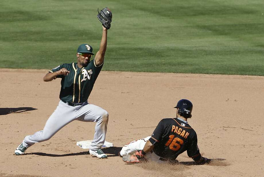 San Francisco Giants' Angel Pagan (16) slides into second base under Oakland Athletics shortstop Marcus Semien during the fifth inning of a spring training baseball game in Scottsdale, Ariz., Saturday, March 19, 2016. (AP Photo/Jeff Chiu) Photo: Jeff Chiu, AP