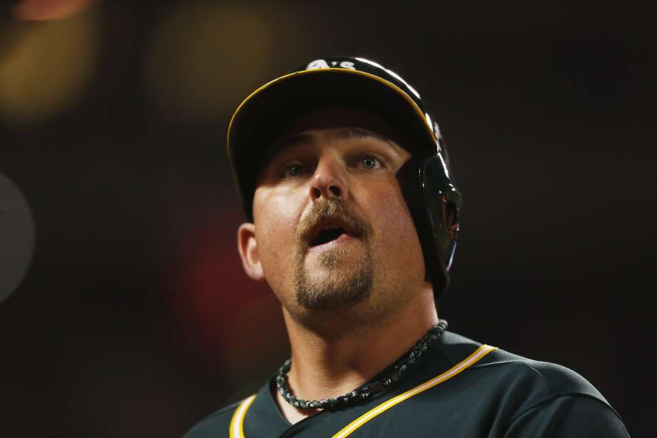 Oakland Athletics' Billy Butler returns to the dug out after lining out during the fourth inning of the second game of the Battle of the Bay Series against the San Francisco Giants on Friday, April 1, 2016 in San Francisco, Calif. Photo: Beck Diefenbach, Special To The Chronicle