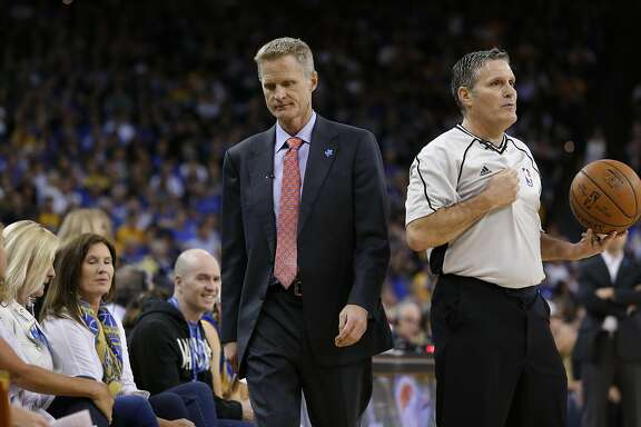 Warriors' head coach Steve Kerr not to happy about the officiating as the Golden State Warriors went on to lose to the Boston Celtics 106-109 in NBA action at Oracle Arena, in Oakland, California, on Fri. April 1, 2016