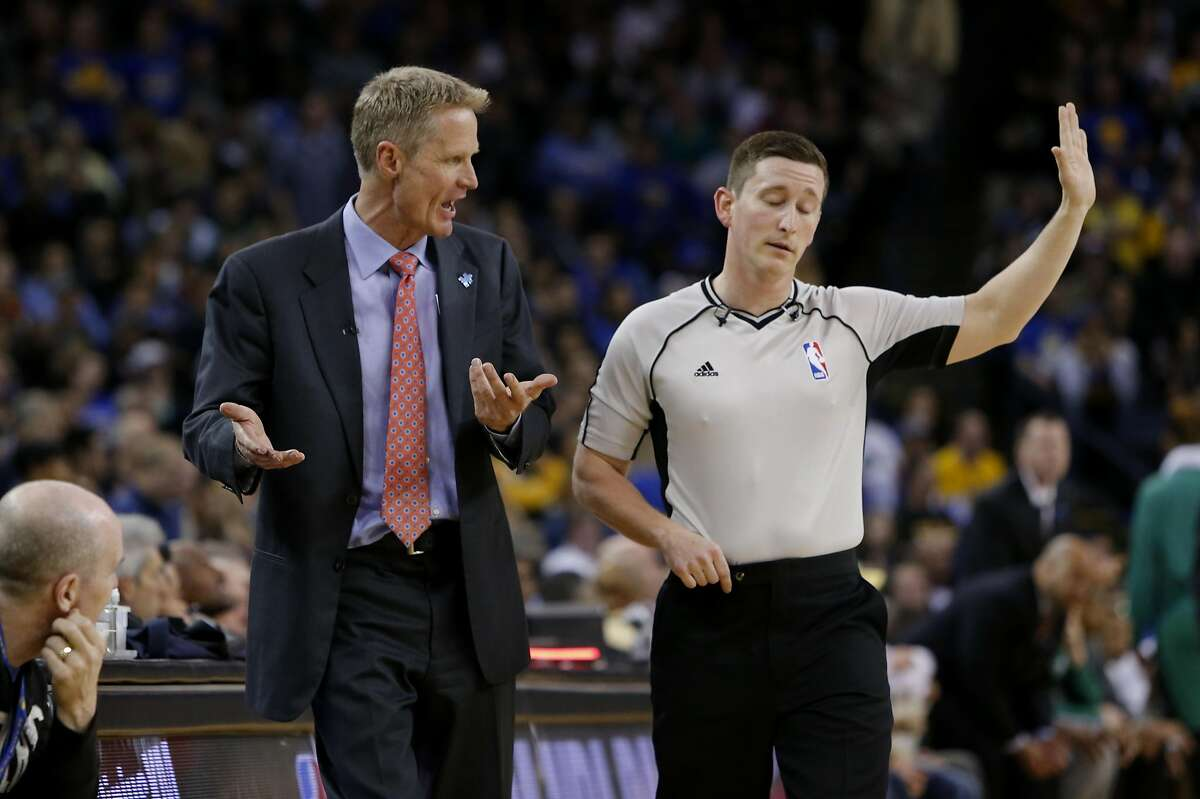 Warriors' head coach STeve Kerr exchanges words with an official as the Golden State Warriors went on to lose to the Boston Celtics 106-109 in NBA action at Oracle Arena, in Oakland, California, on Fri. April 1, 2016