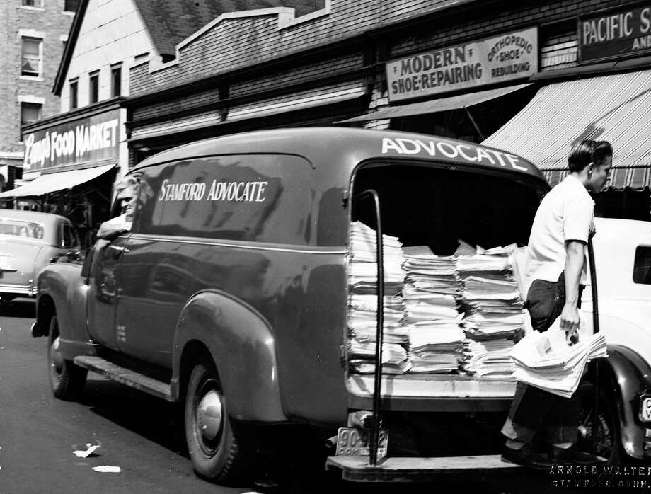 A Stamford Advocate delivery truck. The date of the photo is unknown. Photo: File Photo