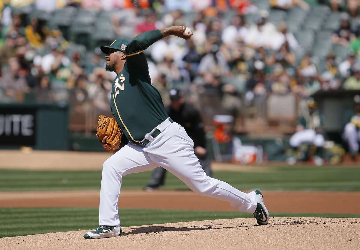 A's starting pitcher Felix Dubront, 53 throws in the first inning, as the Oakland Athletics take on the San Francisco Giants in the Bay Bridge series in Oakland, California, on Sat. April 2, 2016