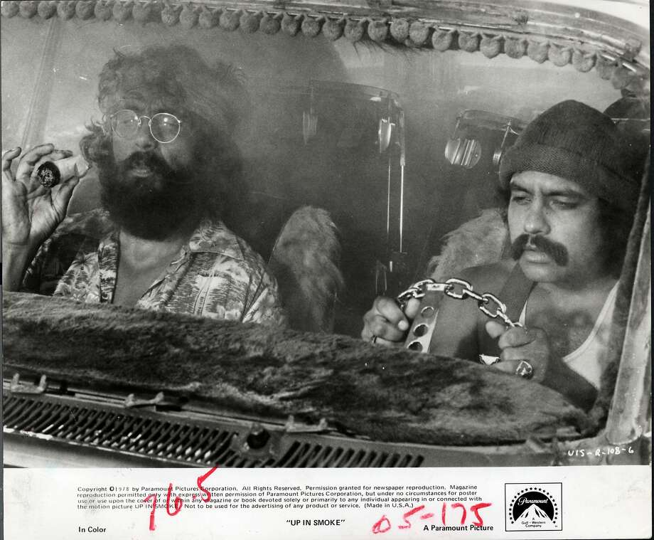 """UP IN SMOKE - Cheech Marin and Tommy Chong as """"Cheech & Chong""""  HOUCHRON CAPTION (08/12/1978): Chong, left, and Cheech roar through a comedy scene in """"Up in Smoke,"""" the first full-length movie feature to star the post-hippie, drug-culture favorite comedy team. Photo: Paramount Pictures"""