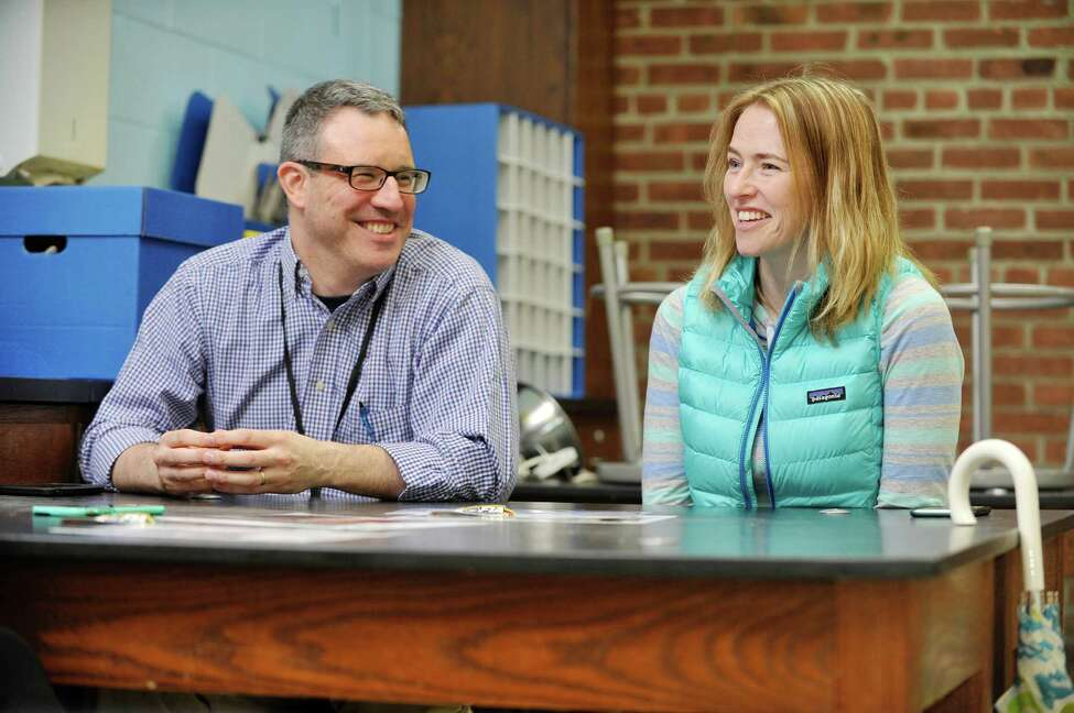 Galway School District teachers Paul Levin, left, and Edie Frisbie talk about their future trip on NASA's Stratospheric Observatory for Infrared Astronomy (SOFIA) airplane, during an interview on Monday, March 28, 2016, in Galway, N.Y. The Boeing 747SP (special performance) airplane is equipped with a 2.5 meter Bent Cassegrain/Nasmyth telescope. The airborne observatory is capable of making observations that are impossible for even the largest and highest ground-based telescopes. (Paul Buckowski / Times Union)
