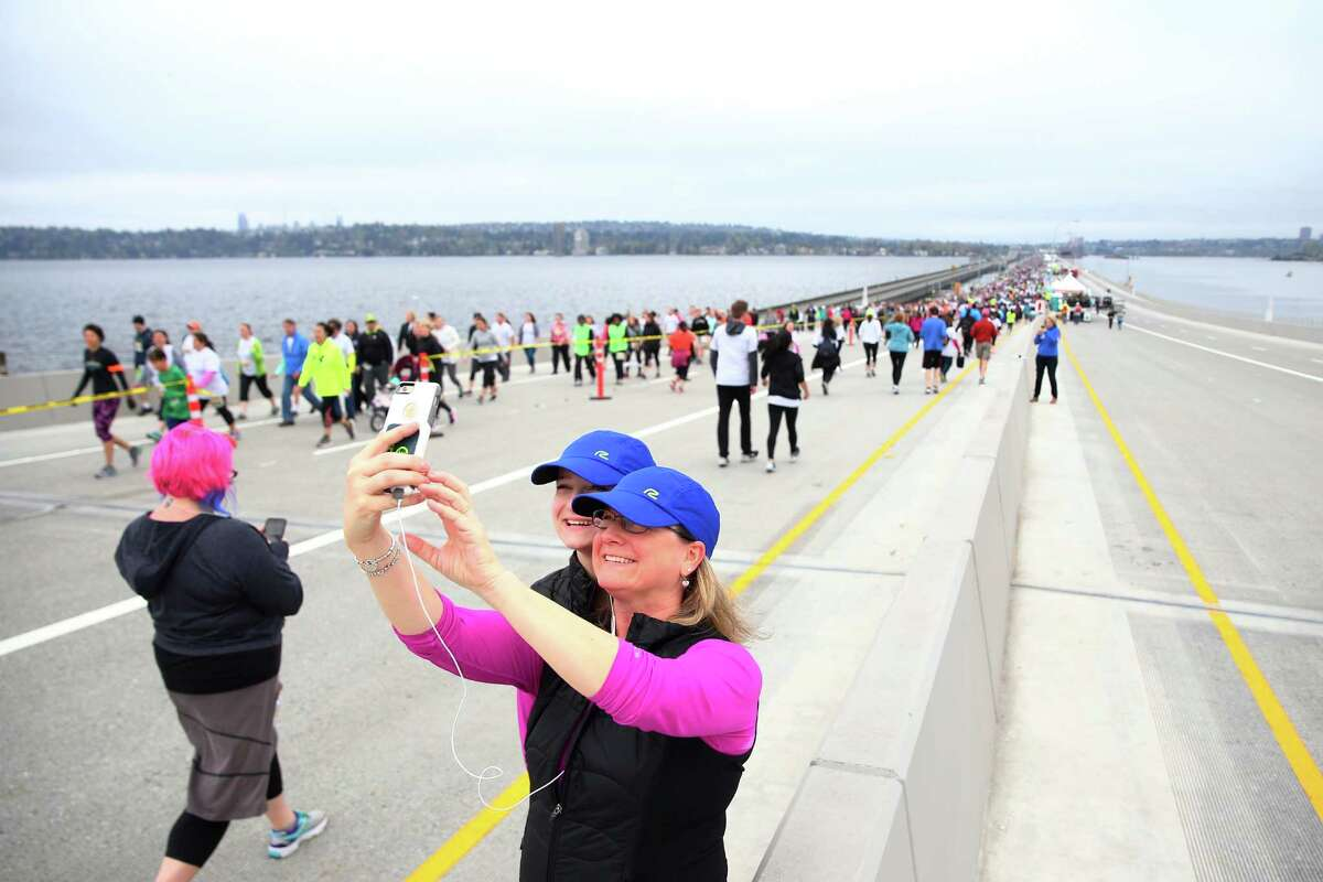 People stop for a selfie break during the 10K fun run.