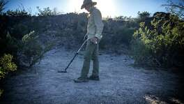 David Keller conducts a metal detections survey where the victims are believed to have been shot at the Porvenir Massacre Site in the Texas Big Bend. Working in conjunction with Historian Glenn Justice, Keller heads a team of archeologists tasked with scientifically documenting the siteÑa century-old cold crime scene where fifteen innocent Hispanic men were murdered by Texas Rangers and local vigilantes. Preliminary findings are placing the prevailing narrative into question.