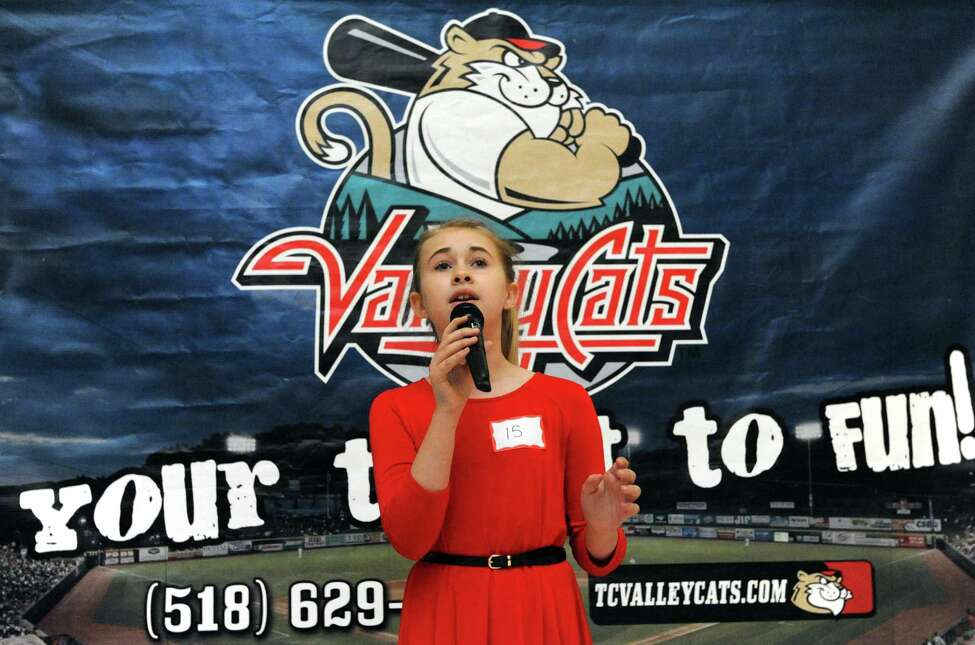 Eleven-year-old Madelyn Terry of Colonie performs her rendition during the Tri-City ValleyCats 6th Annual National Anthem tryouts at Crossgates Mall on Friday April 1, 2016 in Albany, N.Y. (Michael P. Farrell/Times Union)