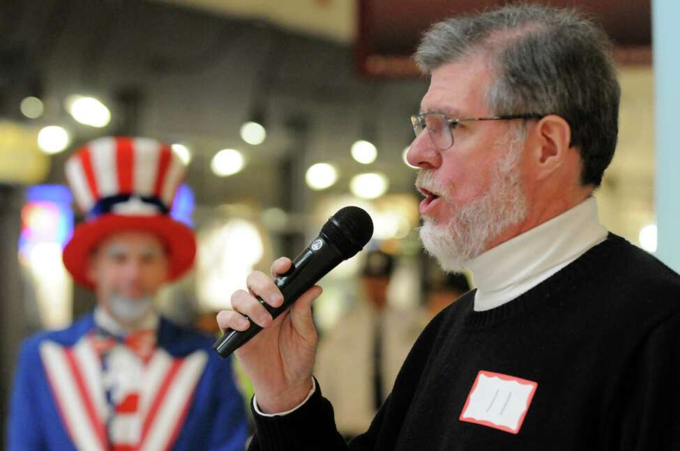 Mike Donegan of Cohoes performs his rendition during the Tri-City ValleyCats 6th Annual National Anthem tryouts at Crossgates Mall on Friday April 1, 2016 in Albany, N.Y. (Michael P. Farrell/Times Union)