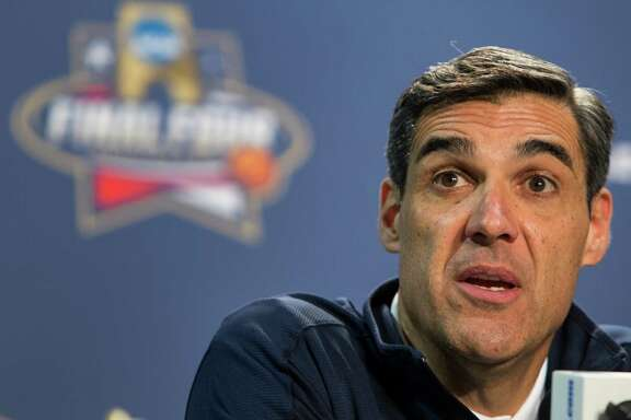 Villanova head coach Jay Wright answers questions during a news conference before the NCAA basketball championship at NRG Stadium on Sunday, April 3, 2016, in Houston.